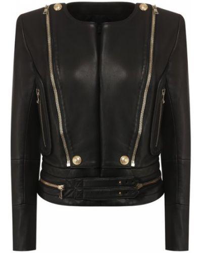 Кожаная куртка черная с подкладкой Balmain