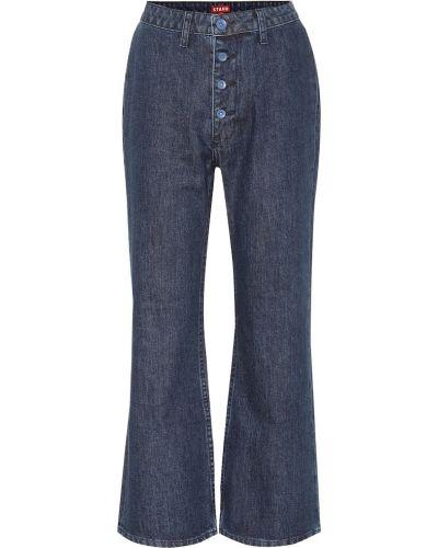 Niebieskie jeansy bawełniane rozkloszowane Staud