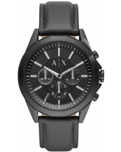 Czarny zegarek skórzany Armani Exchange