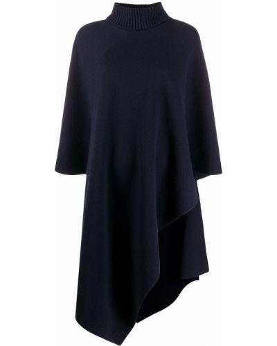 Asymetryczny kaszmir niebieski peleryna z logo Chloe
