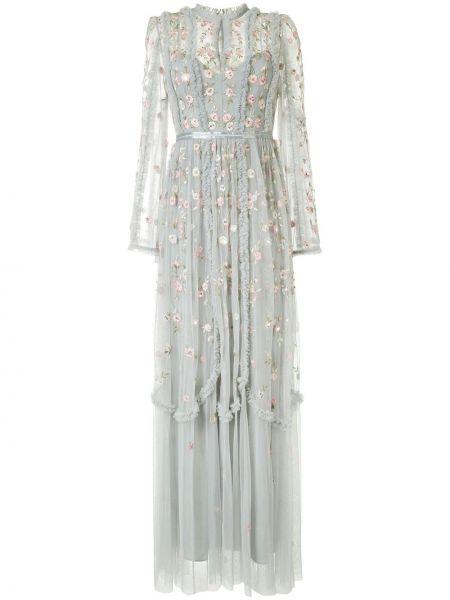 Платье макси с длинными рукавами - серое Needle & Thread