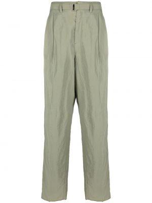 Zielone spodnie bawełniane z paskiem Lemaire