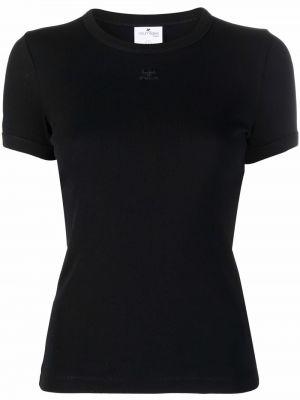 Czarna koszulka krótki rękaw Courreges