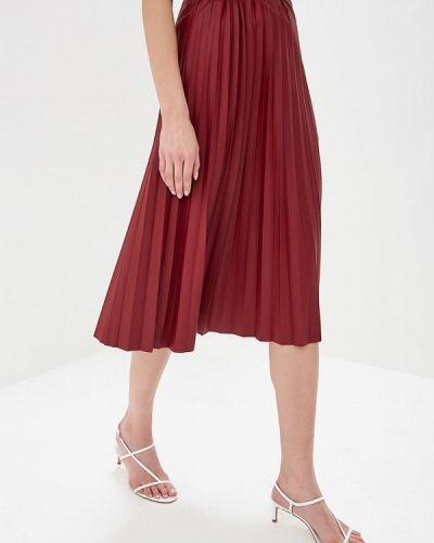 Кожаная юбка бордовый весенняя Zarina
