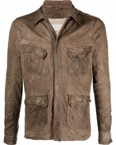 Klasyczna brązowa długa kurtka skórzana Giorgio Brato