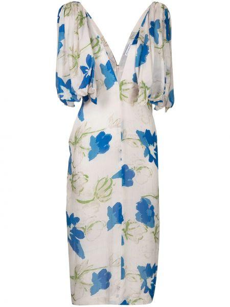 Платье миди в цветочный принт - синее Rejina Pyo