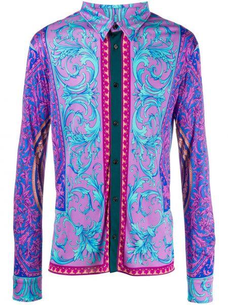 Koszula z długim rękawem karmazynowy fioletowy Versace