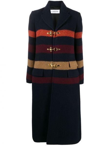 Синее кожаное пальто с воротником Lanvin