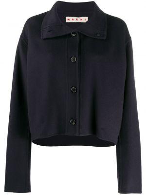 Шерстяной синий короткая куртка с воротником Marni