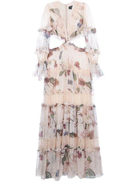 Ажурное платье с рукавами с V-образным вырезом с оборками на пуговицах Patbo