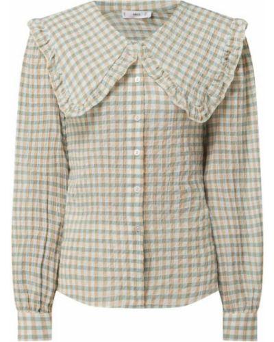 Zielona bluzka z falbanami bawełniana Mango
