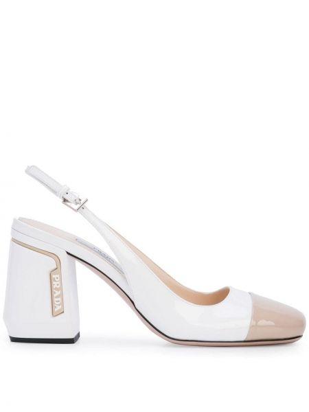 Открытые белые туфли-лодочки с открытой пяткой квадратные Prada