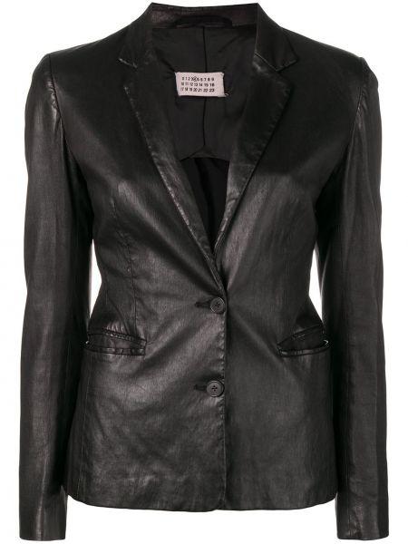 Черный приталенный кожаный пиджак Maison Martin Margiela Pre-owned