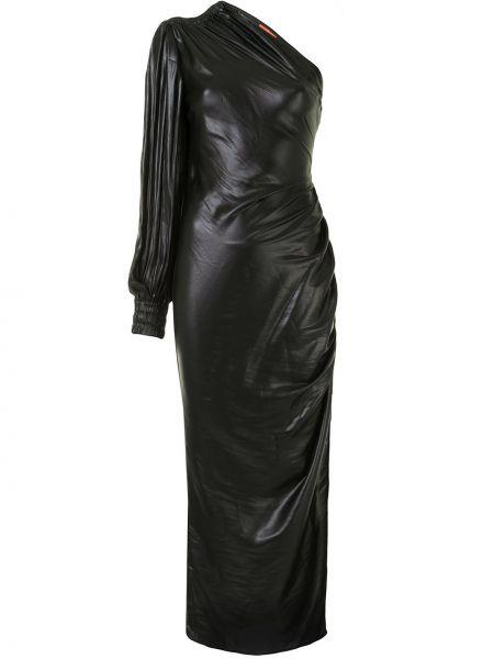 С рукавами черное асимметричное платье макси с драпировкой Manning Cartell