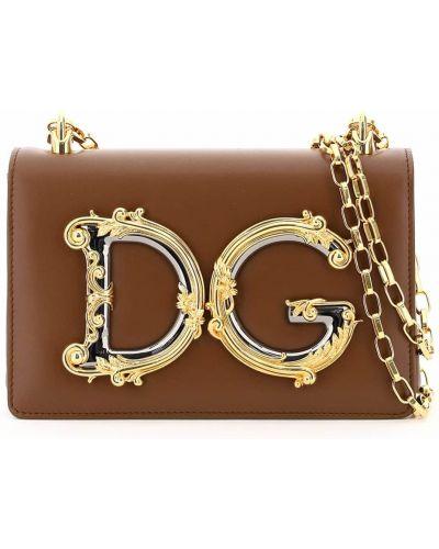 С ремешком коричневая кожаная сумка на цепочке Dolce & Gabbana