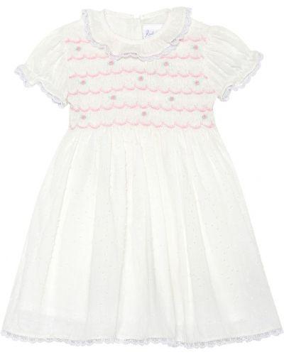 Biała sukienka mini bawełniana Rachel Riley