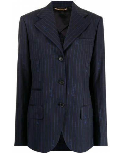 Синий шерстяной пиджак Versace