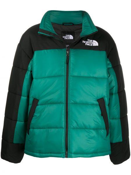 Czarny długi płaszcz z kołnierzem z kieszeniami z haftem The North Face