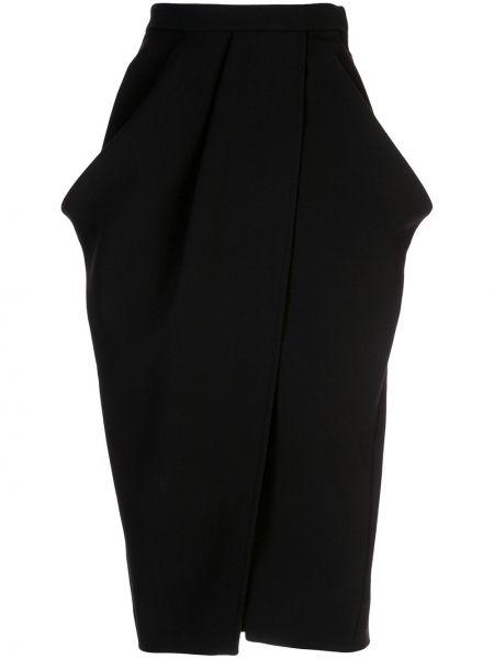 Шерстяная черная юбка тюльпан с запахом с карманами Proenza Schouler