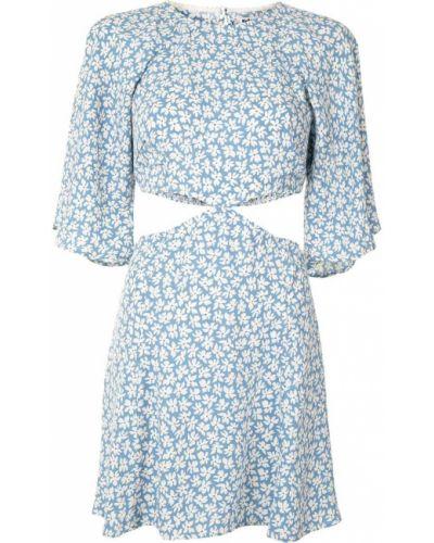 Платье в цветочный принт - синее Reformation