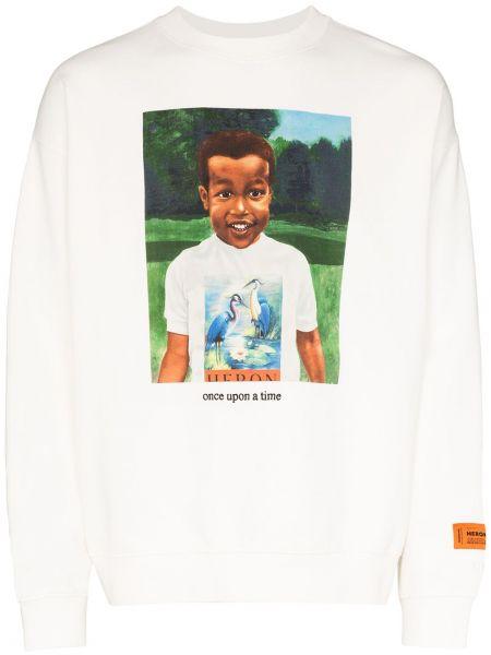 Хлопковая с рукавами белая футболка Heron Preston