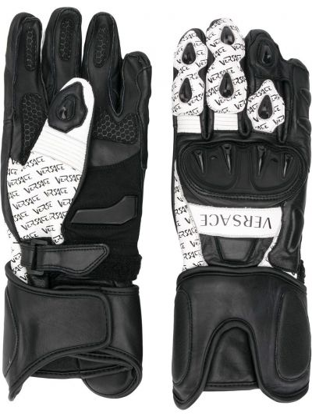 Czarne rękawiczki skorzane z siateczką Versace