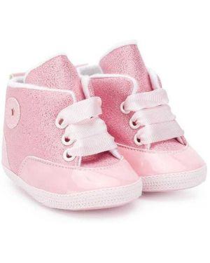 Różowe sneakersy płaska podeszwa sznurowane Aletta