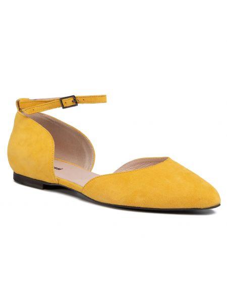 Półbuty skórzane casual - żółte Gino Rossi