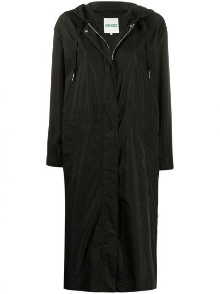 Прямая черная длинное пальто с поясом Kenzo