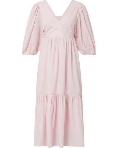 Różowa sukienka mini rozkloszowana bawełniana Edited