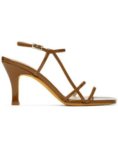 Skórzany sandały z klamrą na pięcie okrągły Maryam Nassir Zadeh