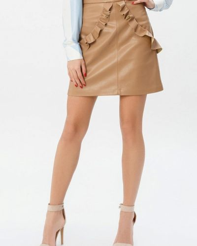 Кожаная юбка бежевый Gepur