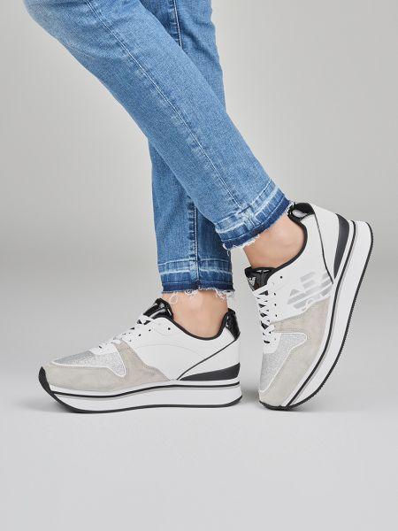 Кроссовки на платформе замшевые белый Emporio Armani