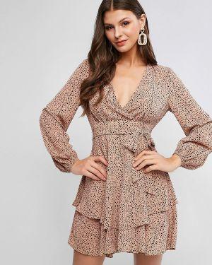 Платье с поясом розовое Zaful