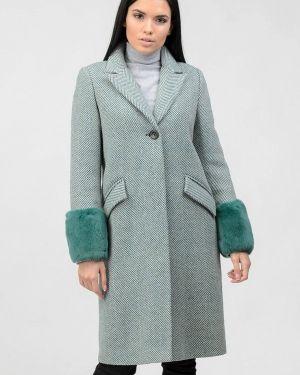 Бирюзовое зимнее пальто с капюшоном Raslov