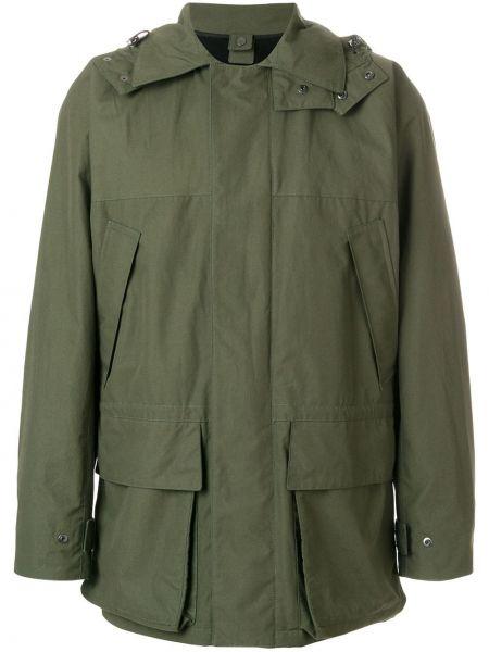 Зеленая хлопковая куртка с капюшоном с карманами с воротником Holland & Holland