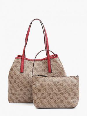 Бежевая кожаная сумка шоппер Guess