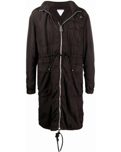 Czarny długi płaszcz z kapturem z długimi rękawami Bottega Veneta