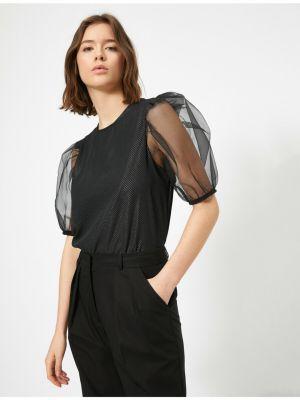 Czarna bluzka krótki rękaw tiulowa Koton
