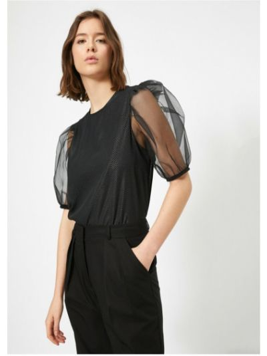 Bluzka tiulowa - czarna Koton