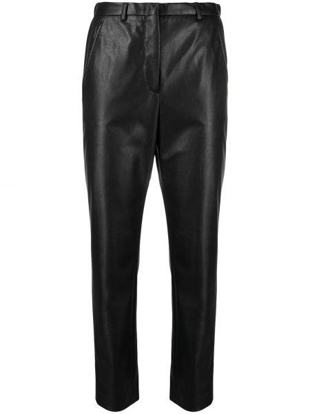 Хлопковые черные укороченные брюки с поясом Incotex