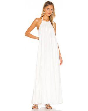 Текстильное белое платье макси с воротником на молнии L'academie
