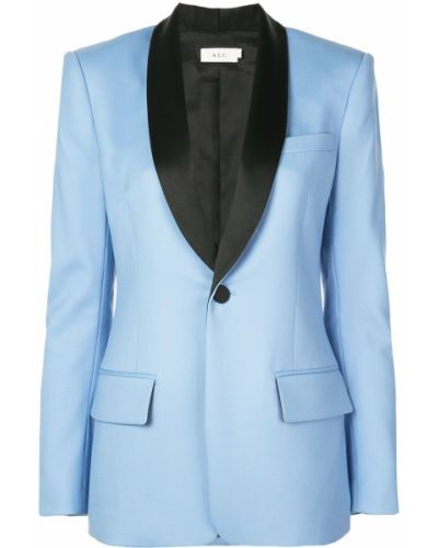 Однобортный приталенный синий удлиненный пиджак A.l.c.