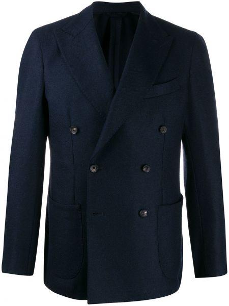 Синий шерстяной пиджак с лацканами с карманами Borrelli