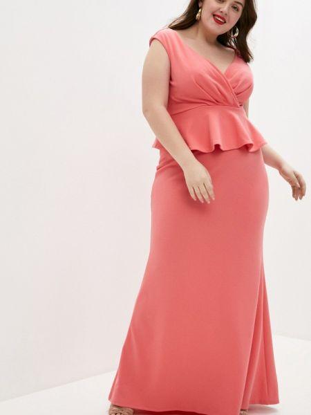 Коралловое вечернее платье Goddiva Size Plus