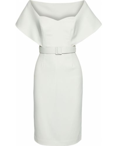 Белое платье с поясом с открытой спиной на крючках Badgley Mischka
