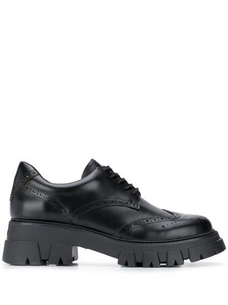 Koronkowa czarny buty brogsy z prawdziwej skóry zasznurować Ash