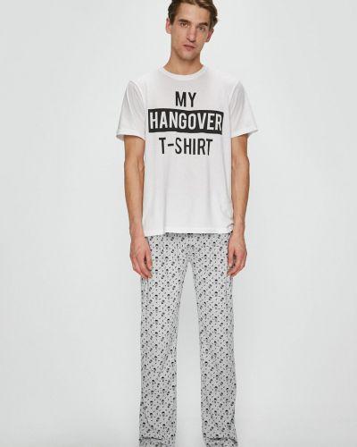 Biała piżama bawełniana z printem Brave Soul