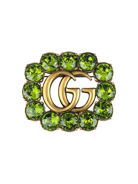 Zielona złota broszka pozłacana Gucci
