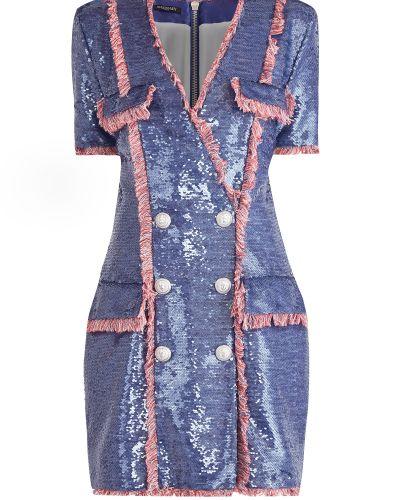 Платье мини с бахромой с V-образным вырезом Balmain